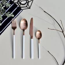 Cutlery Set Mirror Finish Rose Gold Cutlery Set 6 Sets U2013 The Daily Curator