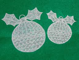 mylar free standing lace ornaments