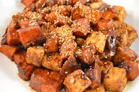 thanksgiving side 2 maple soy glazed sweet potatoes tofu