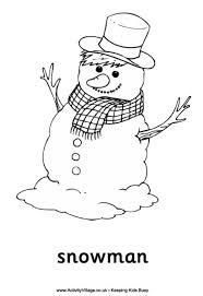 snowman colouring kids
