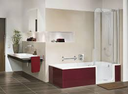 amazing bathtub shower designs with white acrylic tub unify red