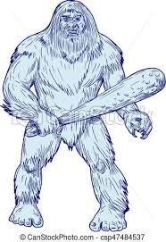 vectors of bigfoot holding club standing drawing drawing sketch