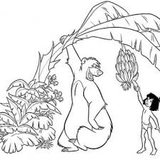 mowgli pick banana baloo jungle book coloring pages
