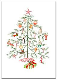 personalized boxed christmas cards christmas nautical tree cards original artwork 10 per boxed