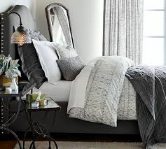 Pottery Barn Willow Table Raleigh Upholstered Nailhead Camelback Tall Bed U0026 Headboard
