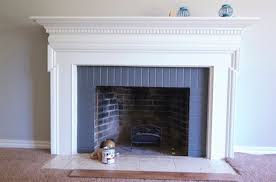 painted brick fireplace with grey paint color brick fireplace and