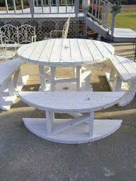 outdoor tables made out of wooden wire spools table and benches made from wooden spool so creative recycle