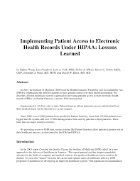 Implementing Patient Access To Electronic Health Records Under