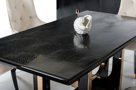 modern gold table l black crocodile textured top and rose gold base dining table san