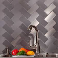 kitchen outstanding silver metal backsplash beautiful complement