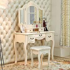 Vintage Vanity Table Tribesigns French Vintage Ivory White Vanity Dressing Table Set Makeup