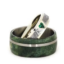 unique wedding ring sets unique wedding ring set with moissanite dinosaur bone meteorite