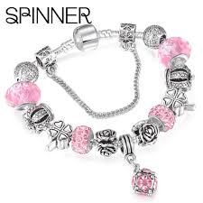 pandora bracelet with beads images Beautiful european spinner style vintage silver plated crystal jpg