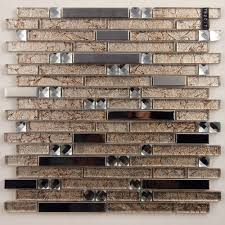 Metal And Glass Diamond Silver Stainless Steel Backsplash Tiles - Stainless steel backsplash lowes