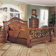 Wood And Iron Bed Frames Yuan Furniturefinish Cherry Bed Size Eastern King Nicholas