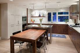 stainless steel kitchen island with butcher block top light wooden floor geometric rug white dining table acrylic