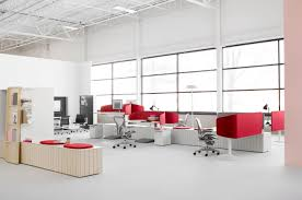 White Office Furniture Modular Modern Office Design With Stylish Red White Office