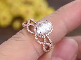 moissanite wedding sets 1 5 carat oval moissanite wedding sets 14k gold