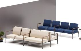 contemporary upholstered bench fabric wooden for public