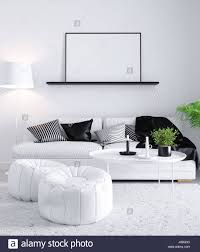 mock up poster in living scandinavian style interior room 3d