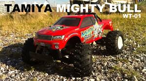rc monster truck videos tamiya wt 01 mighty bull xb 2wd 1 10 monster truck rc running