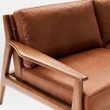 mathias midcentury 3 seater sofa leather saddle leather