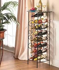 wine rack sei decorative metal bakers rack with 6 bottle wine