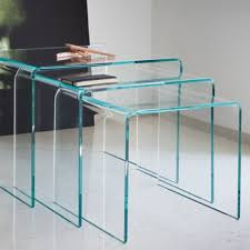 table foxy glass nest of 3 coffee side tables black bent nested