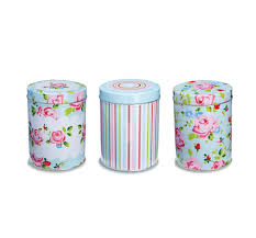 vintage floral tea coffee sugar storage canister tin in choice of