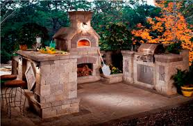 stone kitchen design beautiful outdoor kitchen barbeque with awesome fireplace and bar