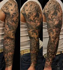koi fish tattoo on arm realistic colored foo dog with koi fish and hannya maks tattoo on