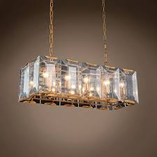 Gold Glass Chandelier Restoration Revolution Harlow Crystal Rectangular 10 Light 34