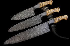 set of 3 tsunami damascus custom kitchen knives bladeforums