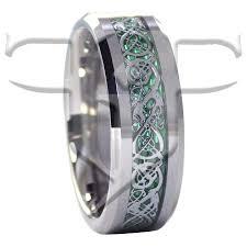 green wedding rings silver celtic tungsten ring green carbon fiber wedding band