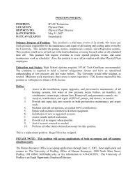 Help Desk Technician Job Description Resume by Hvac Resume Examples Resume For Your Job Application