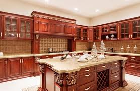 kitchen cabinet and countertop ideas cherry kitchen cabinets with gray wall and quartz countertops ideas