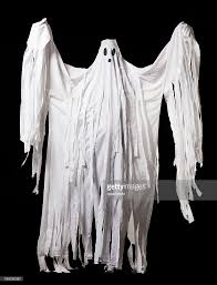 ghost halloween costume full body portrait on black stock photo
