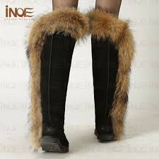 womens fur boots size 11 inoe fox fur boots s thigh high black boots size 11 cow