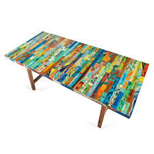 Teal Dining Table by Buoy Crazy Table Ecochic Lifestyles Reclaimed Wood