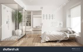 minimalist bedroom bathroom shower walkin closet stock