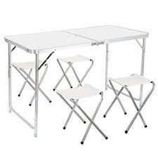 preferred nation folding table finether height adjustable folding table and 4 folding stools with