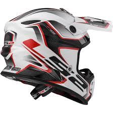 ls2 motocross helmets ls2 mx456 light compass white red helmet motocard