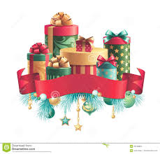 christmas decoration gifts stack and ribbon tag stock images