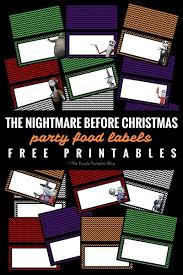 party food labels the nightmare before christmas
