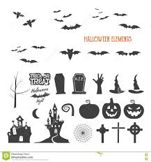 set of halloween design creation tool kit icons isolate flat