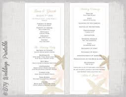 word template for wedding program wedding program template starfish wedding