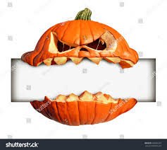 scary halloween signs halloween blank sign pumpkin character biting stock illustration