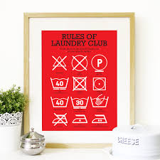 kitchen art laundry club poster art with laundry symbols mid