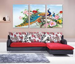 aliexpress com buy peacock art 3 piece canvas wall art painting