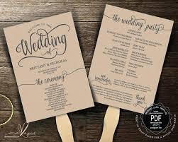 printable wedding program fans template wedding program fan template